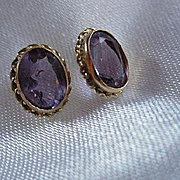 14K Gold Oval faceted Amethysts Vintage Posts