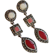 Pretty Signed Coral White Angelskin Red Marcasite Sterling Silver Dangle Vintage Earrings