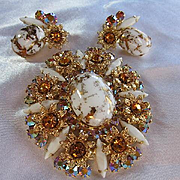 Gorgeous Rare D&E Juliana Verified Gold Fluss Brilliant AB Topaz Austrian Crystals Brooch Pendant Matchings Earrings Highly Coveted Vintage Set MINT