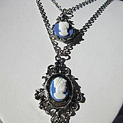 Lovely Wedgewood Blue Double Cameo Silver tone Victorian design Vintage Necklace 1960s