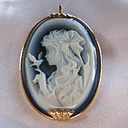Gorgeous 14K Yellow Gold Agate Carved Cameo Vintage Brooch Pin Pendant