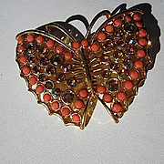 Gorgeous Coral glass AB Crystals Gold plated Butterfly Figural Vintage Brooch Pin