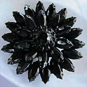 Gorgeous Black Crystal Rhinestone Japaned Flower Glass Rhinestone Vintage Brooch Pin