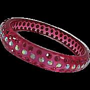 Stunning Translucent Raspberry Pink Lucite AB Pink Swarovski Crystals Vintage Bracelet