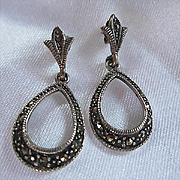 Lovely Sterling Silver Marcasite Dangling Vintage Post Earrings 925