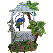 Amazing Sterling Silver Enameled Tropical Garden Dangling Parrot Vintage Figural Brooch Pin
