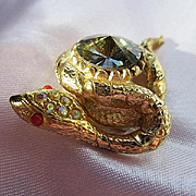 Fabulous Snake Figural Inverted foiled Watermelon Rivoli Belly AB Rhinestones Red glass Eyes Vintage Brooch Pin