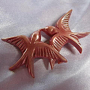 Art Deco Celluloid Mauve Turtle Doves Birds Vintage Brooch Pin