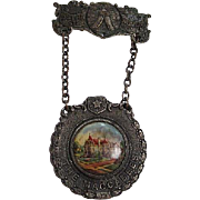 Fabulous Rare Victorian The Maccabees Astra Castra Numen Lumen Metal Porcelain Vintage Hanging Medal Badge