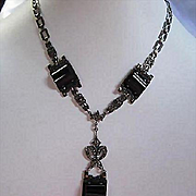 Amazing Rare Art Deco Pillow Onyx Marcasite Sterling Silver Square Engraved Link Chain Vintage 1940s Necklace