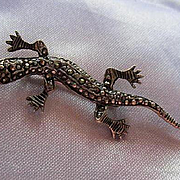 Wonderful Victorian Era Lizard Gecko Salamander Figural Sterling Silver Vintage Brooch Pin Signed