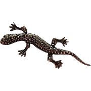Wonderful Victorian Era Lizard Gecko Salamander Figural Sterling Silver Vintage Brooch Pin Signed