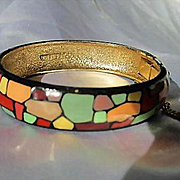 Fabulous Eisenberg Signed Mosaic Enameled Modernist Multi Color Artists Series Vintage Bangle Bracelet
