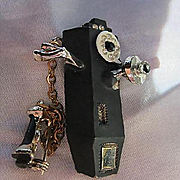 Old Fashioned Black Enamel Pay Phone Figural Rhinestones Receiver Chatelaine Chain Vintage Brooch Pin