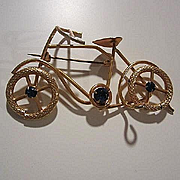 Fabulous Rare Art Deco Bicycle Figural Deep Blue Austrian Crystals Gold Plate Vintage Brooch Pin Three Inches