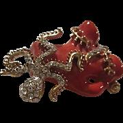 Fabulous Coral Enamel Pave Crystal Octopus Seaweed Vintage Figural  Brooch Pin