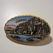 Grand Tour Victorian Sorrento Italy Enamel Scene Hand Painted Vintage Brooch Pin