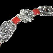 Gorgeous Art Deco Carnelian Sterling Silver Openwork Filigree Marcasite Vintage Bracelet