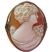 Gorgeous Large Hand Carved Shell Cameo Beautiful Gold filled Frame Vintage Brooch Pin Pendant
