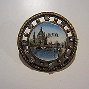 Victorian Hand Painted Enamel Berlin Grand Tour C Clasp Rhinestone Tourist Vintage Brooch Pin