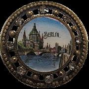 Victorian Hand Painted Enamel Berlin Grand Tour C Clasp Rhinestone Tourist Vintage Brooch Pin