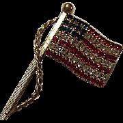 Sparkling Swarovski Crystals Patriotic American Flag Figural Vintage Brooch Pin