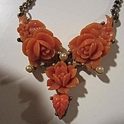 Lovely Art Deco Carved Coral Celluloid Flowers fx Pearls Vintage Necklace