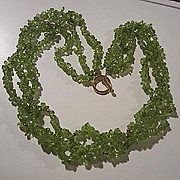 Gorgeous Peridot 14K Gold Triple Strand Lime Green Genuine Peridot Gold  Spacers and Clasp Vintage Necklace