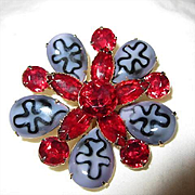 Amazing Red Austrian Crystal Art Glass Vintage Brooch Pin