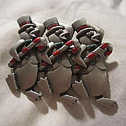 Signed Pewter Triple Holiday Penguins Figural Vintage Brooch Pin