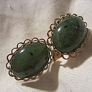Chinese Nephrite Jade Oval Cabochons Vintage Clip Earrings