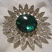 Signed Huge Emerald Green Faceted Austrian Crystal Center Clear Rhinestone Vintage Brooch Pin