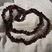 Beautiful Polished Genuine Garnet Natural Thirty Four Inch Vintage Necklace