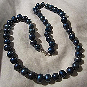 Gorgeous Blue Genuine Pearls Hand Knotted Sterling Silver Clasp Vintage Necklace