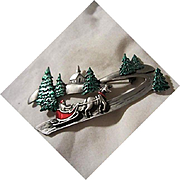 Signed Pewter Christmas Figural Scene Santa Sled Trees Rare Vintage Brooch Pin