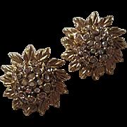Oscar De La Renta Couture Sparking Signed AB Crystal Domed Flower Vintage Clip Earrings Signed