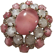 Gorgeous Pink White Pearlized Moonglow Clear Crystal Rhinestones Vintage Brooch Pin