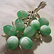 Coro Signed Gorgeous Jadeite Moonglow Hand Blown Art Glass Flower Figural Vintage Brooch Pin
