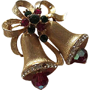 WEISS signed Gorgeous Red Green Swarovski Crystals Christmas Articulated Red AB Crystals Double Bells Vintage Brooch Pin