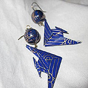 Whimsical Hand Made Miniature Japanese Origami Birds Cobalt Blue Cloisonne Enamel Beads Vintage Earrings
