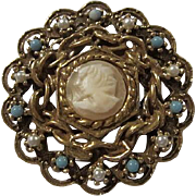 Goldette Signed Carved Shell Cameo fx Pearls Turquoise 1960s Vintage Brooch Pin