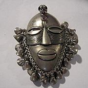 Amazing Huge Tribal Statement Mask Garnet Glass Cabochons Bells Vintage Figural Brooch Pin