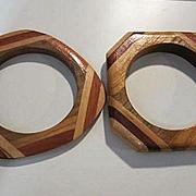 Fabulous Set Inlaid Wood Hand Made Vintage Bracelets