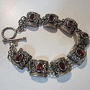 Fabulous Garnet Sterling Silver Etruscan Style Vintage Bracelet