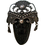 Elaborate Head dress Onyx Mask Silver Signed Mexico Vintage Brooch Pin