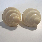 Napier Art Deco Swirl Lucite Clip Screw Vintage Earrings Signed