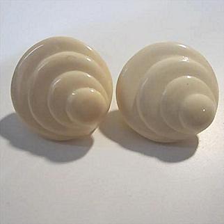 Napier Art Deco Swirl Lucite Clip Screw Vintage Earrings Signed