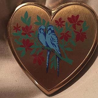 Love Birds Heart Mirror Vintage Powder Vanity Compact