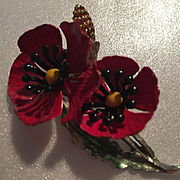 Gorgeous Red Black Enamel Poppy Flower Vintage Brooch Pin 1960s