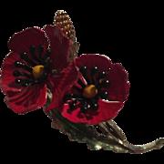 Gorgeous Red Black Enamel Poppy Flower Vintage Brooch Pin 1960s